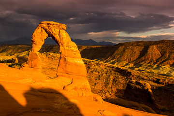 Delicate Arch at sunset, utah