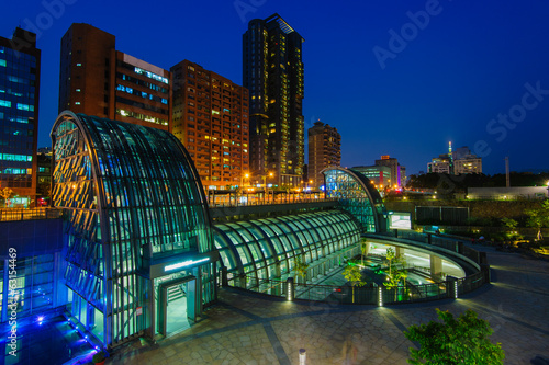 Night view of Daan MRT station in Taipei, Taiwan