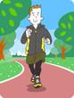 ジョギングする若い男性