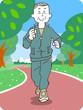 ジョギングする年配の男性