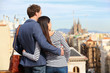 Romantic couple looking at view of Barcelona