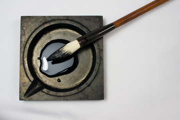 Chinese calligraphy tools with white background