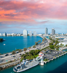 Beautiful cityscape of Miami along the sea