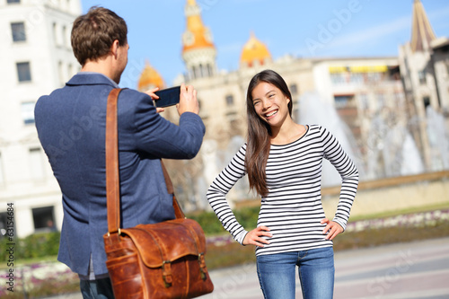 Tourists taking picture on travel in Barcelona