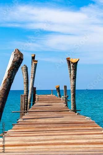 jetty that leads to an tropical island