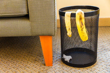 Trash bin of bananas