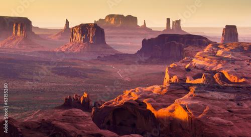 Leinwandbild Motiv The Hunt's Mesa, american wild west, Monument Valley