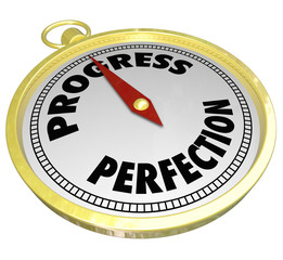 Progress Vs Perfection Gold Compass Point to Improvement