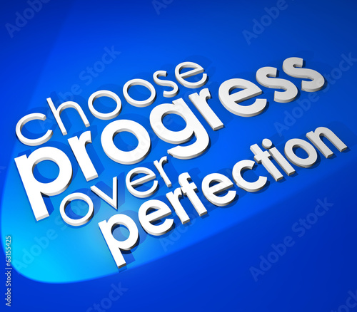 Choose Progress Over Protection 3d Word Blue Background