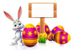 canvas print picture - cute easter bunny with wooden sign