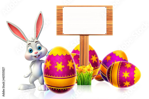 canvas print picture cute easter bunny with wooden sign