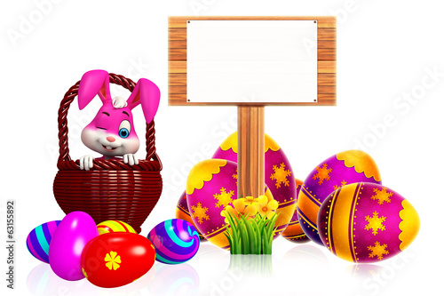 cute easter bunny with wooden sign and basket