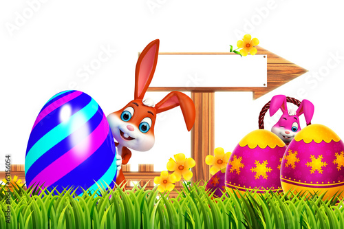 cute easter bunny with colorfull egg and sign