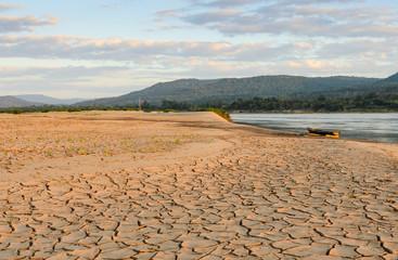 Drought land of Mekhong river during dry season, Thailand