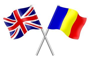 Flags: United Kingdom and Romania
