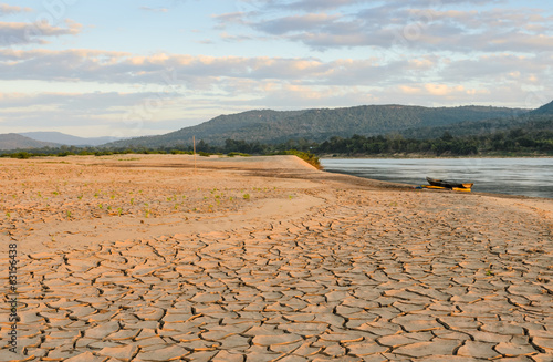 Drought land of Mekhong river during dry season, Thailand