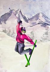 Winter mountain landscape. watercolor
