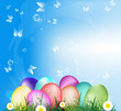 Easter Eggs on the green grass.Holiday Happy Easter.Vector
