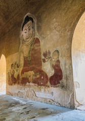 Ancient Burmese mural in Bagan temple, Myanmar