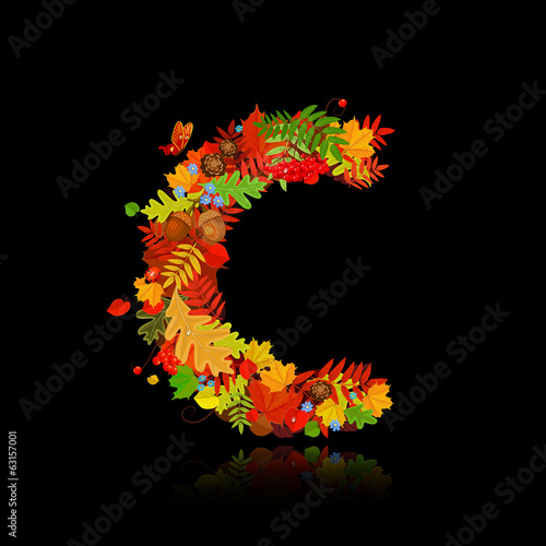 Beautiful autumn leaves. letter c