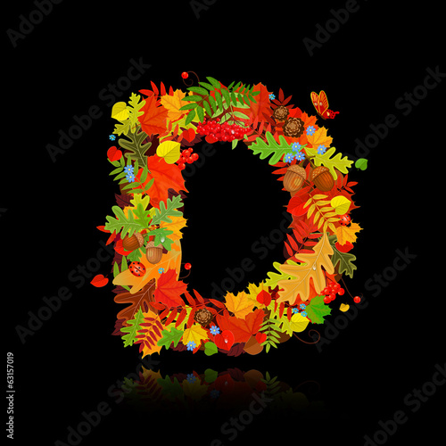 Beautiful autumn leaves. letter d