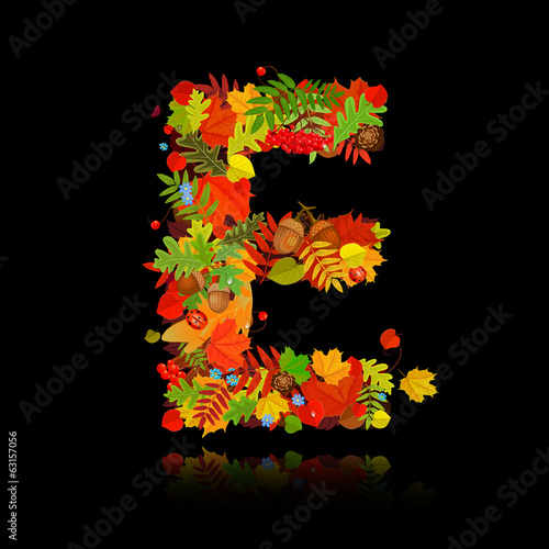 Beautiful autumn leaves. letter e