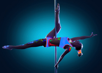 Image of amazing skinny girl dancing on pole