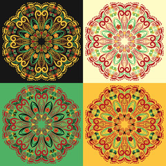 Set of four traditional Russian mandala patterns khokhloma