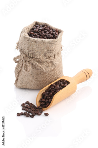 Burlap sack of coffee beans with scoop