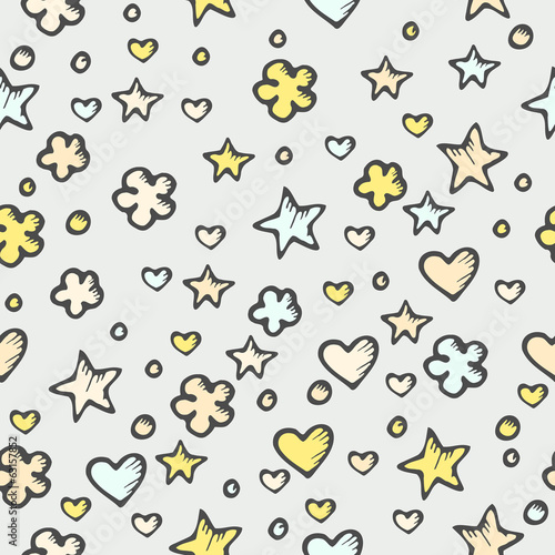 Seamless abstract pattern with stars and hearts