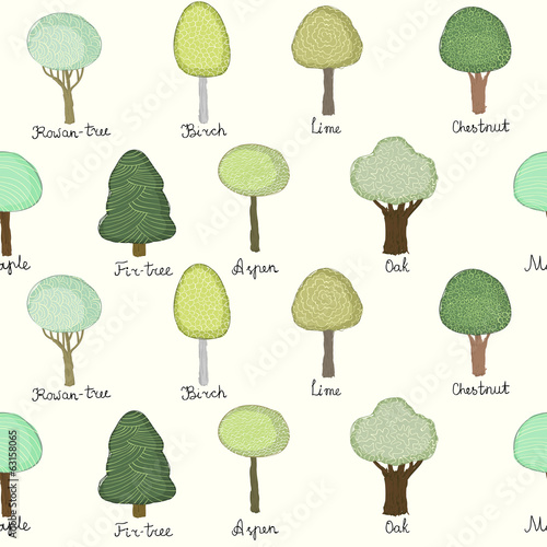 Seamless pattern with doodle trees
