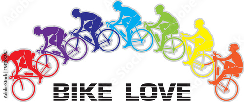 Bike Love color mix Vector logo