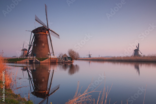 kinderdijk at sunrise