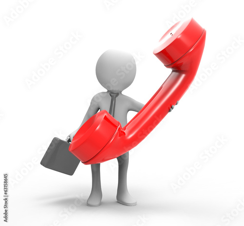 3d businessman with telephone