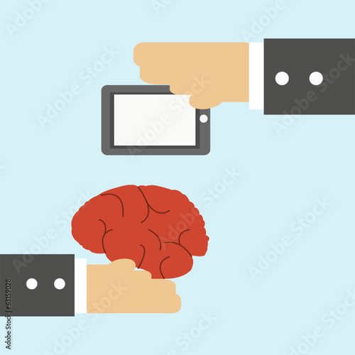 Businessman transfered human brain with tablet, business concept