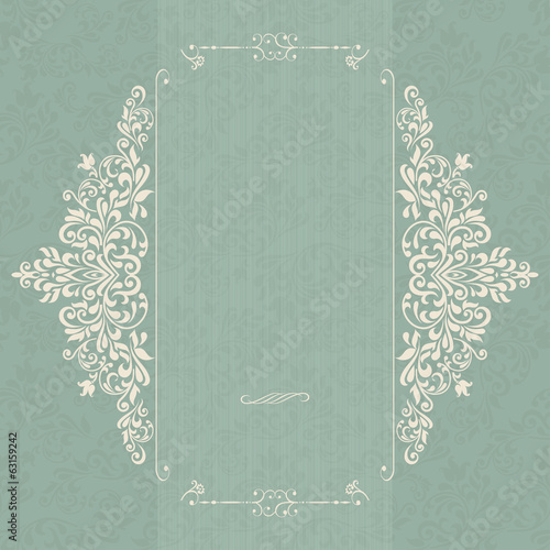 Vintage background, antique greeting card, invitation with victo