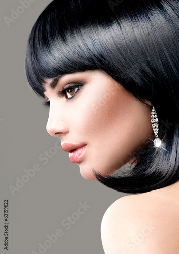 Beautiful Brunette Woman. Bob Haircut. Short hair