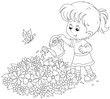girl watering flowers on a flowerbed