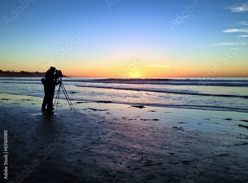 Photographers at sunset, Scripps Pier, La Jolla, San Diego
