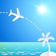 White paper plane flying to the island with palm