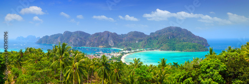 Leinwanddruck Bild Panorama of Phi phi island, Krabi, Southern of Thailand.
