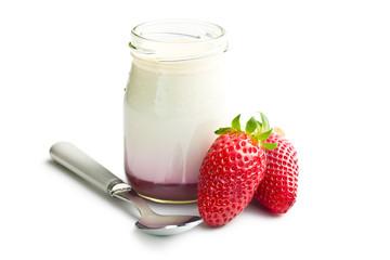 yogurt in jar with strawberry