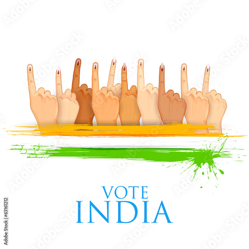 Hand with voting sign of India