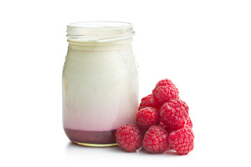 yogurt in jar with raspberries