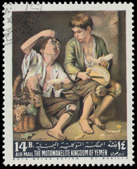 Stamp printed by Yemen, shows Boys Melon eating by Murillo