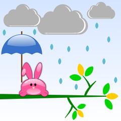 Coniglio con ombrello