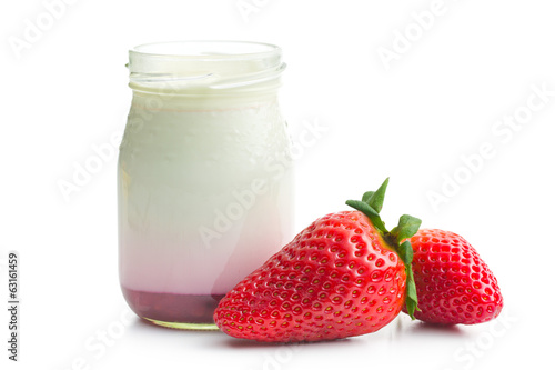 yogurt in jar with strawberry