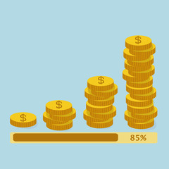 Loading Stack of golden coins,earning money concept.