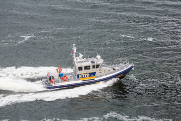 NYPD Boat Cruising Through Harbor