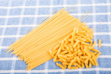 Rotini and Spaghetti on a Blue Towel